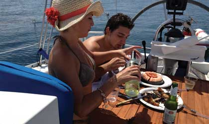 Dining on a sail boat